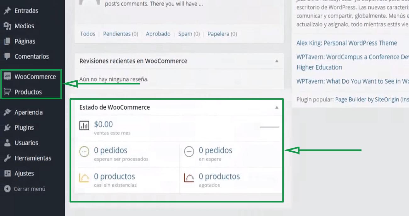 Cómo usar WordPress para crear una página web. Menú de Woocommerce