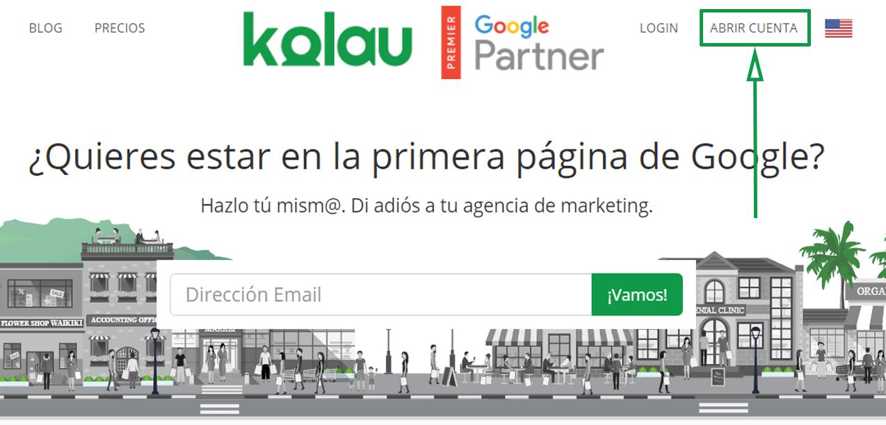 Marketing para cafeterías. Página de Kolau, abrir cuenta (1)