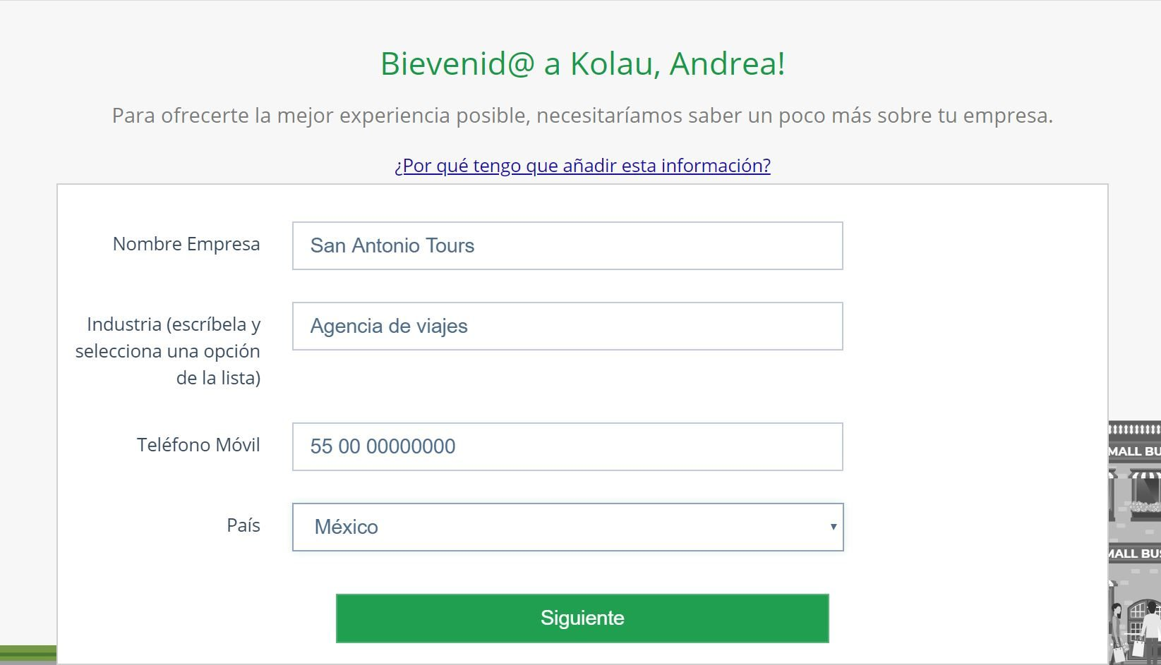 Crear página web para turismo. Datos empresa
