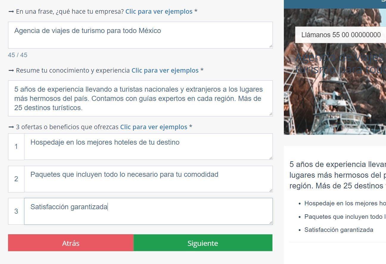 Crear página web para turismo. Descripción de empresa
