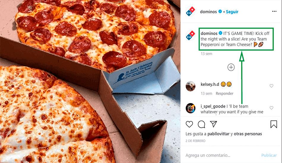 Cómo ganar seguidores en Instagram. Post de Domino's Pizza