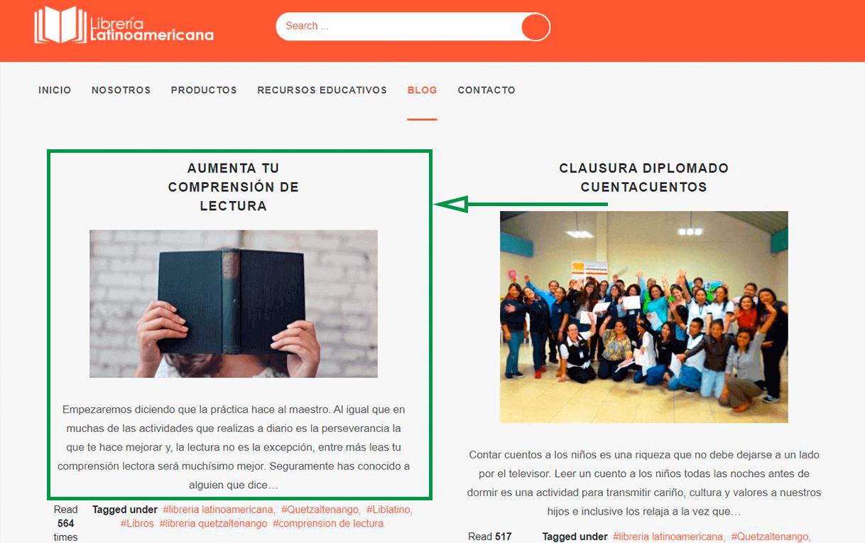 Marketing para librerías. Ejemplo de blog de librería latinoamericana