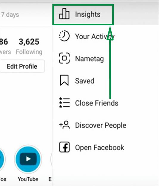 6. Cómo ganar seguidores en Instagram. Menú de Estadísticas
