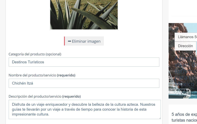 Crear página web para turismo. Descripción producto