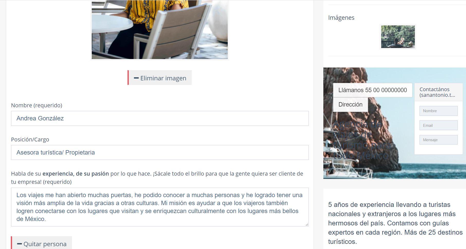 Crear página web para turismo. Biografía Porpietaria